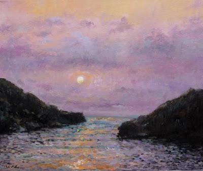 Cuadro al oleo de una puesta de sol en Ibiza