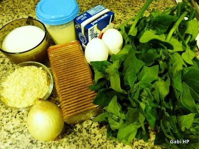 Ingredientes para torta de espinafre
