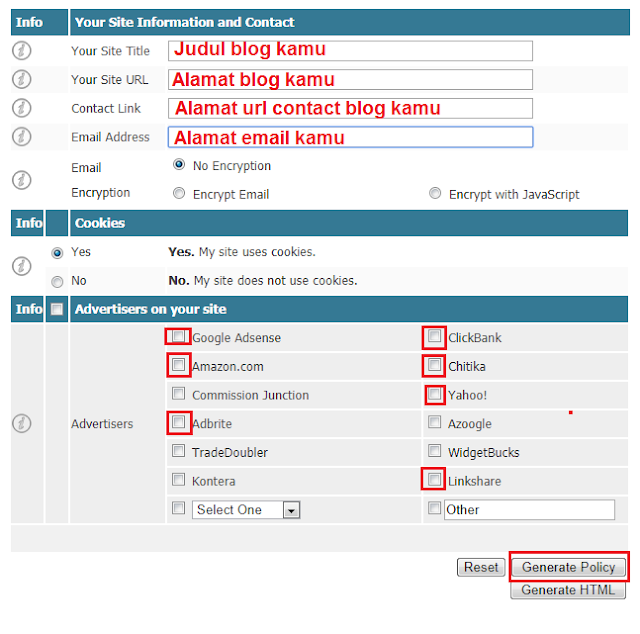 cara membuat privacy policy online