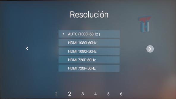 Se muestran los tipos de resoluciones que se pueden elegir.