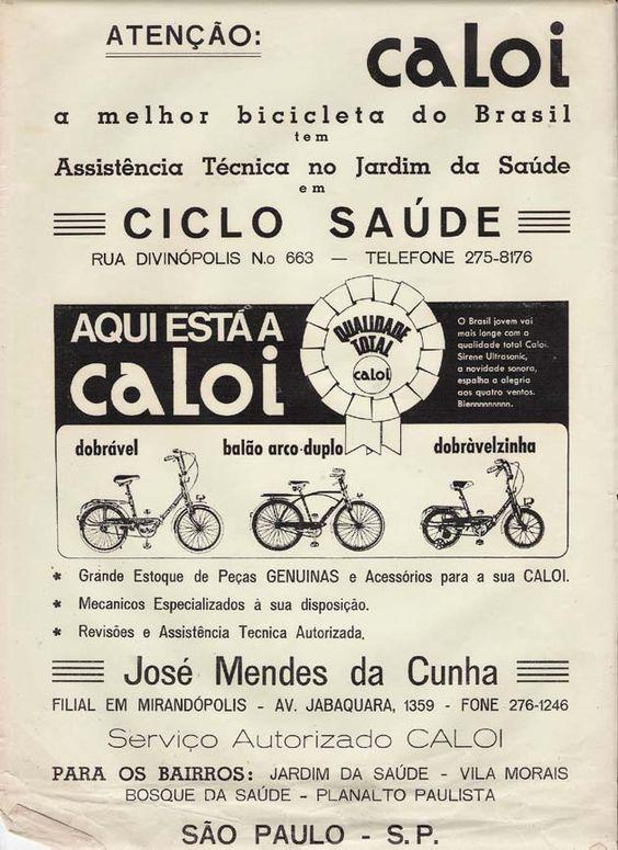 Propaganda antiga das bicicletas Caloi voltada para revendedores de bicicletas em 1972
