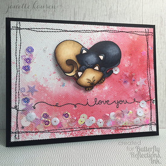 Shaker Card with Tulle by Janette Kausen | Darling Duos Cat stamp set by Newton's Nook Designs #newtonsnook