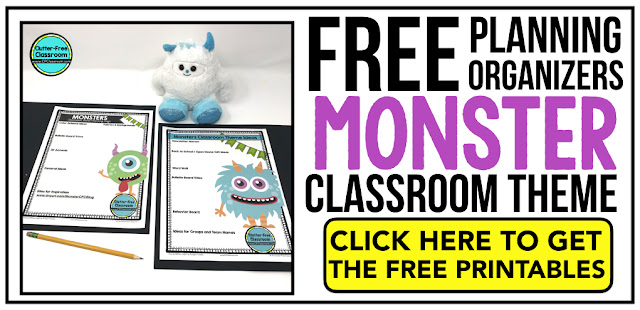 MONSTER Theme Classroom: If you're an elementary teacher who is thinking about a monster theme then this classroom decor blog post is for you. It'll make decorating for back to school fun and easy. It's full of photos, tips, ideas, and free printables to plan and organize how you will set up your classroom and decorate your bulletin boards for the first day of school and beyond.