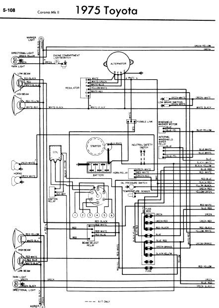 repair-manuals: Toyota Corona Mark II 1975 Wiring Diagrams