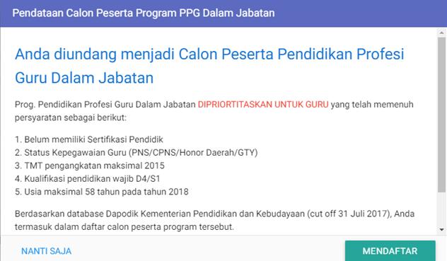 Berikut Cara mendaftar peserta PPG di SIM PKB tahun 2018