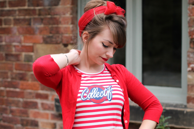 Collectif stripe t-shirt and pin-up style headscarf