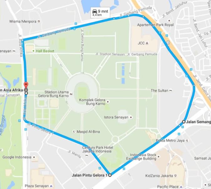 Rute 4.4 km BIB 7.1K Digital Running for Innovation 2016 Jakarta hari bhakti postel plaza senayan