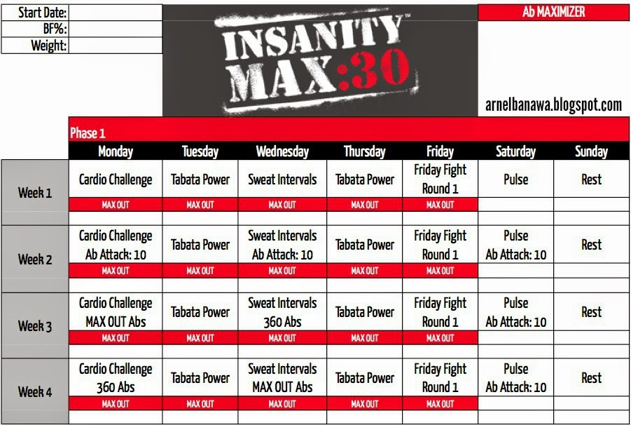 This is a picture of Ridiculous Insanity Schedule Printable
