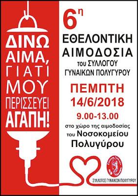 Εθελοντική αιμοδοσία του Συλλόγου Γυναικών Πολυγύρου