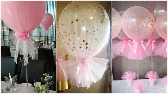 Decoraci n con globos y tul para elaborar centros de mesa - Centros de mesa con globos ...