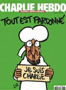 """Charlie Hebdo Cover Features Muhammad Holding 'Je Suis Charlie' Sign"""