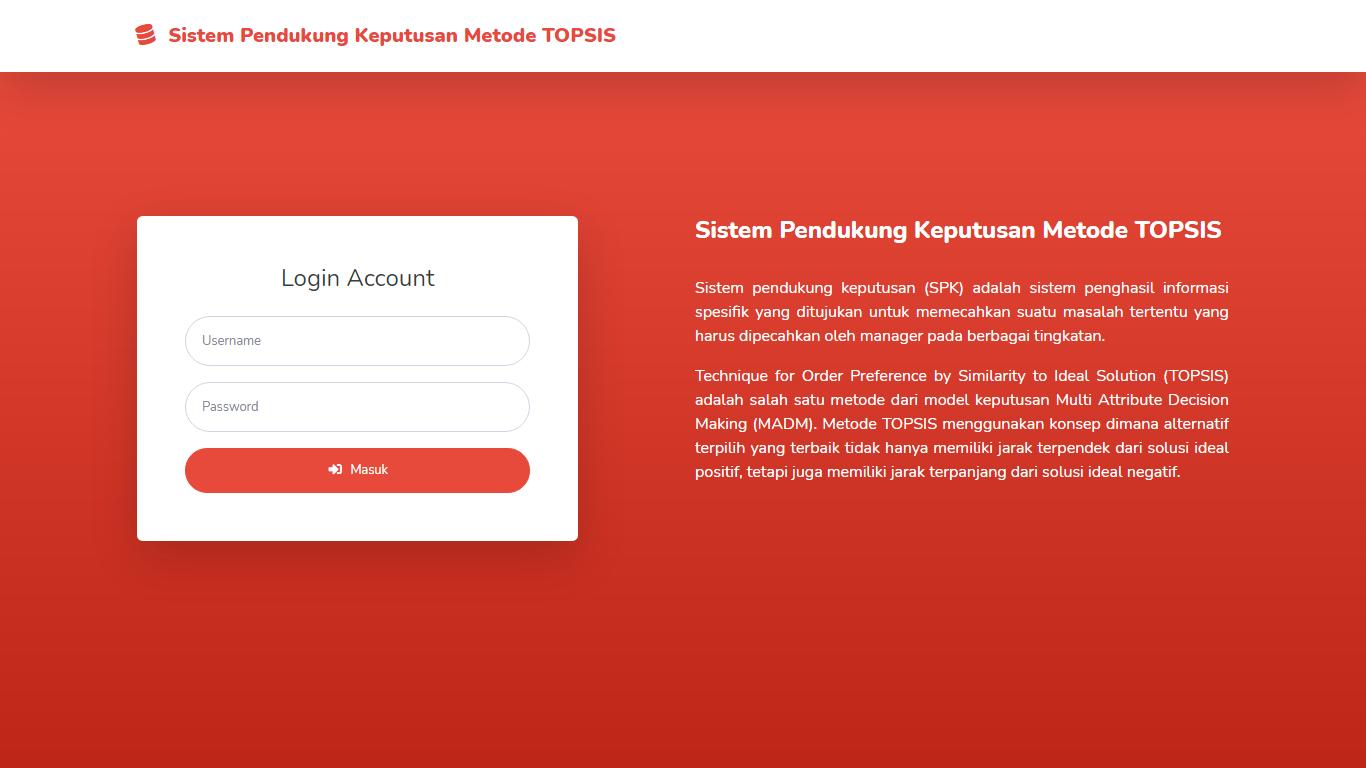 Aplikasi Sistem Pendukung Keputusan Penentuan Pemilihan Penerima Beasiswa Metode TOPSIS - SourceCodeKu.com