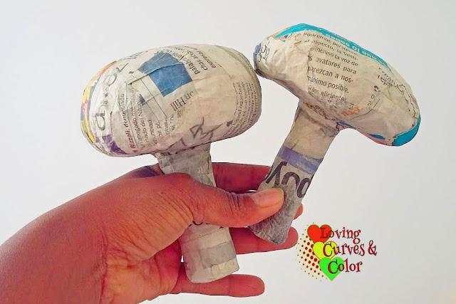 Champiñones-hechos-de-papel-mache