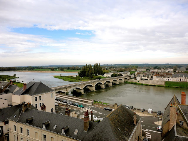 View of Amboise and River Loire from the château, in the Loire Valley, France