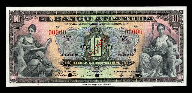 Honduras currency money 10 Lempiras banknotes Bank Atlantida