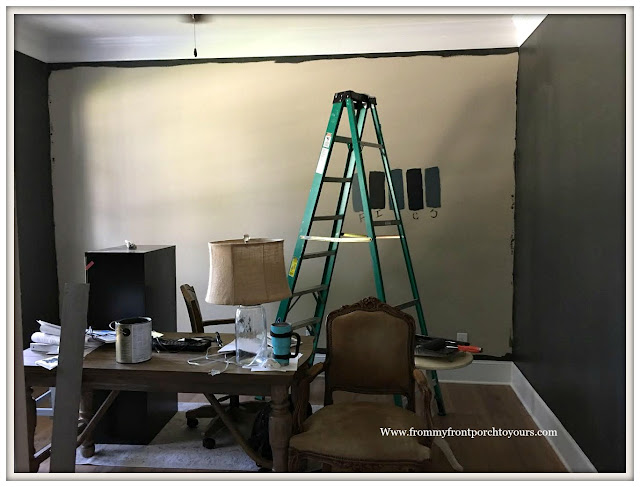 Home Office Makeover-DIY-Feature Wall-New paint-From My Front Porch To Yours