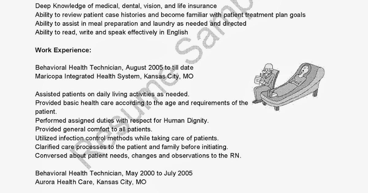 resume samples  behavioral health technician resume sample