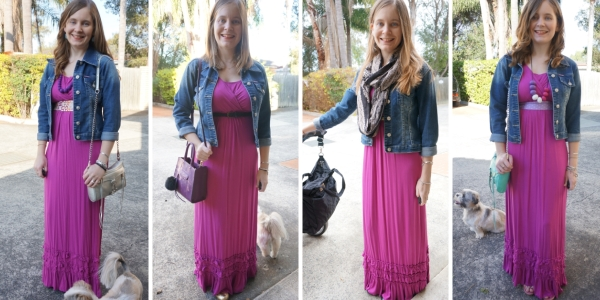 denim jacket and pink maxi dress worn 4 ways | away from blue