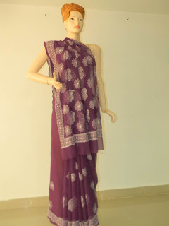 Lucknowi Chikan Purple Georgette Saree