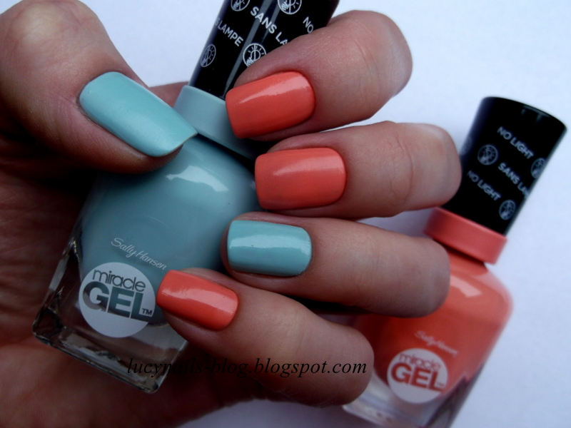 Sally Hansen Miracle Gel 240 B Girl i 380 Malibu Peach