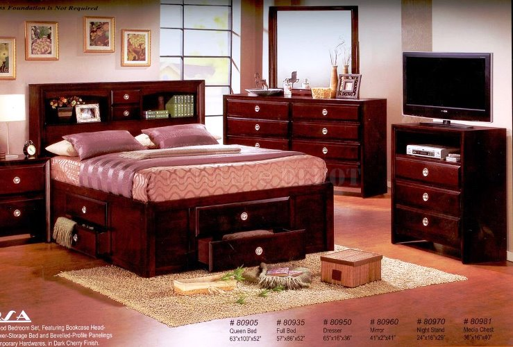 Dark Cherry Wood BEDROOM FURNITURE Sets Good Modern Design Ideas