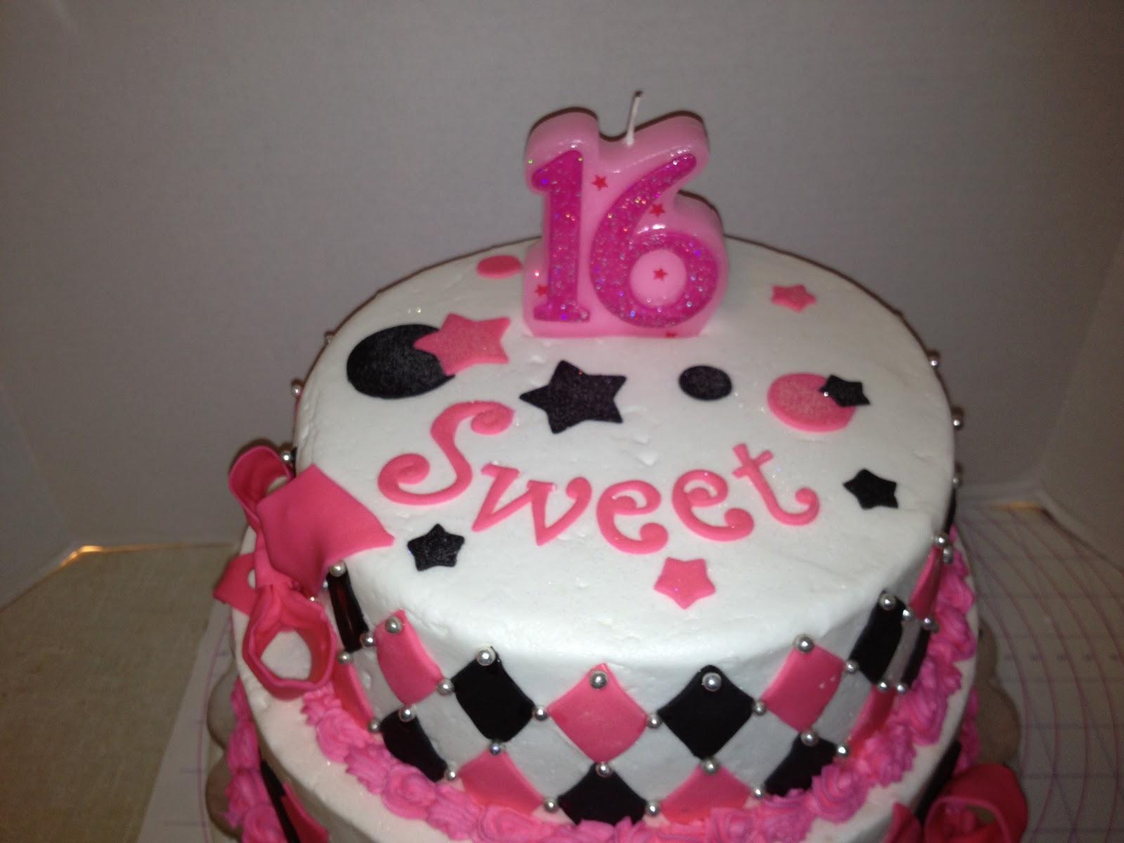custom cakes by christy  sweet 16 pink  u0026 black harlequin