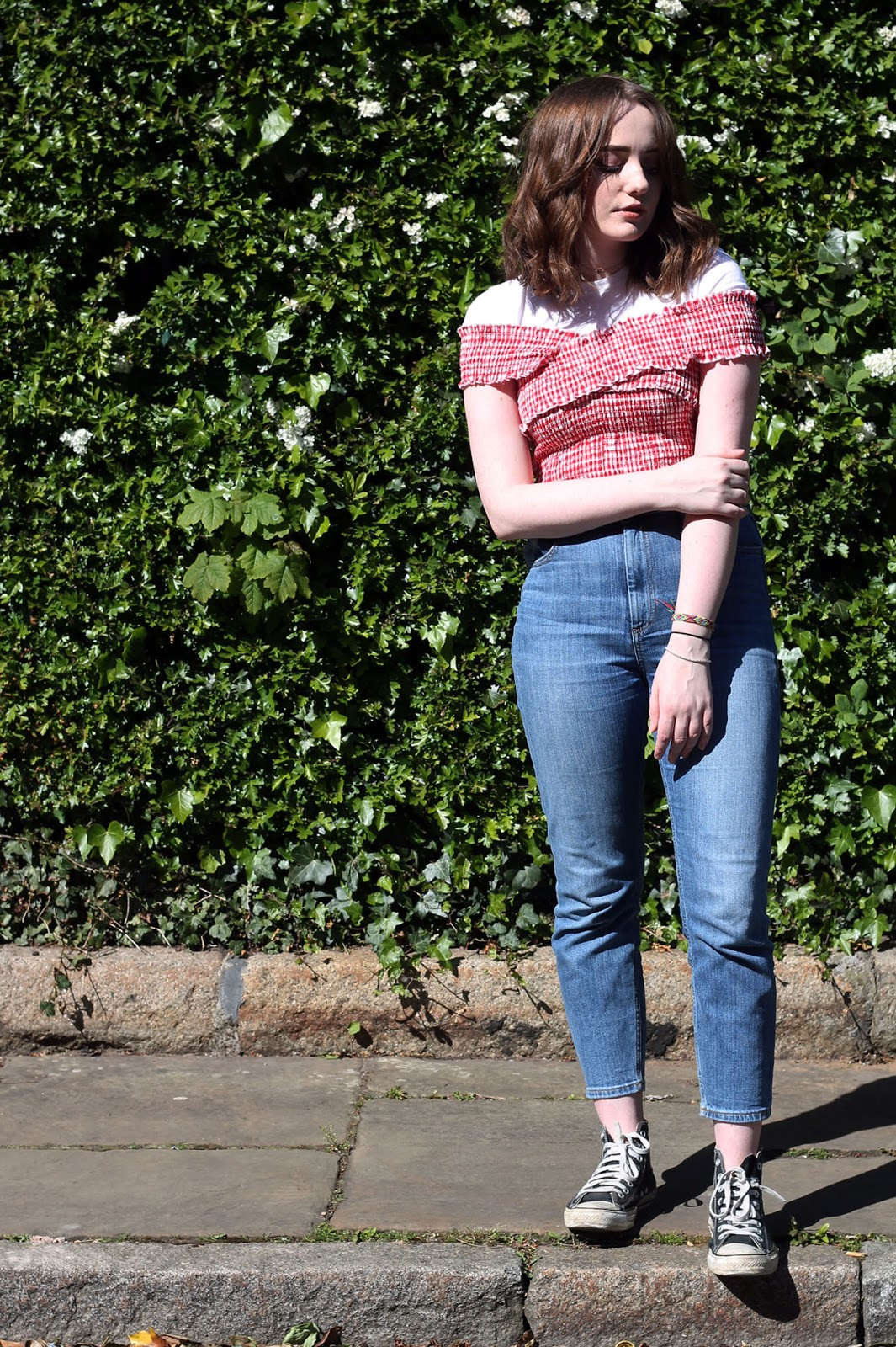 urban outfitters gingham crop top and blue farleigh asos jeans 2017 trends