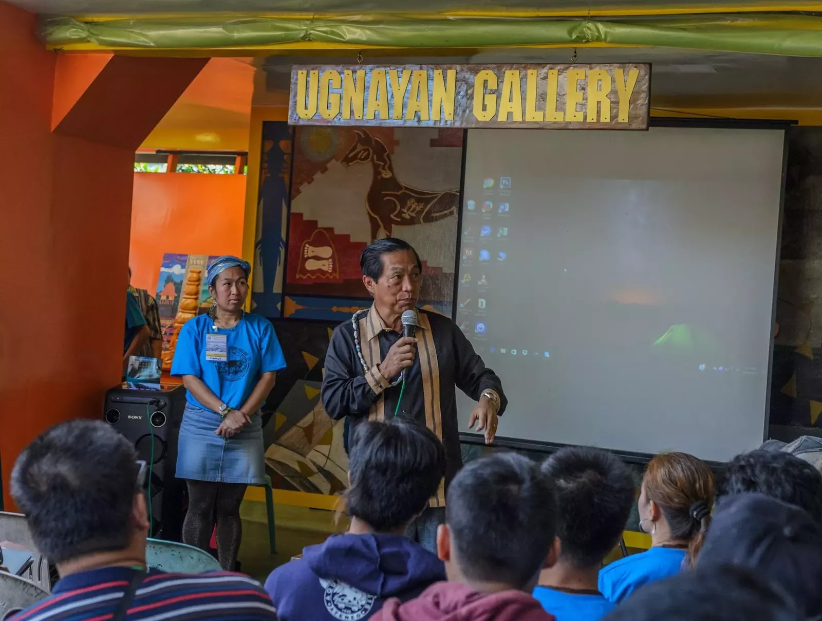 International Arts Festival 8th Tam-awan Baguio City Philippines Keeping the Stones Rolling Opening Ceremonies Honorable Baguio City Mayor Mauricio G. Domogan Addressing Festival Participants Guests Artisits Media Another POV