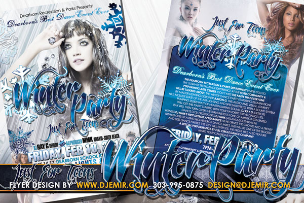 Flyer Design for the Just For Teens Winter Dance Party at Dearborn Rec Center