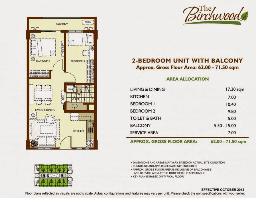 The Birchwood 2-Bedroom Unit 62-71.50sqm