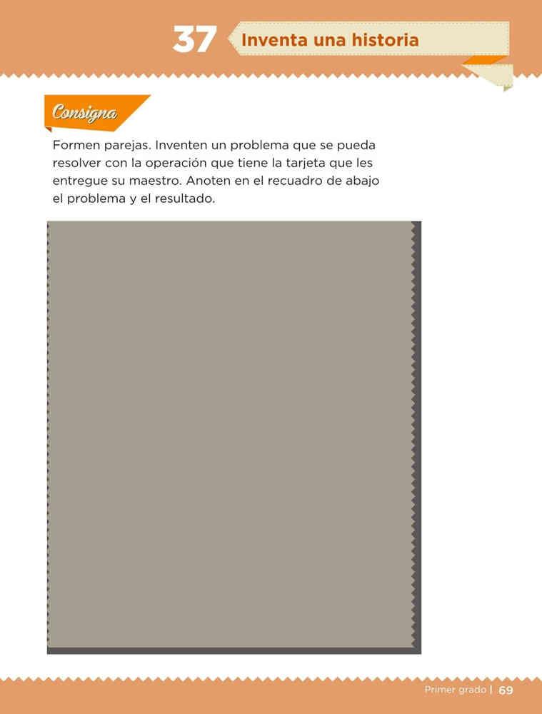 Libro de textoDesafíos MatemáticosInventa una historiaPrimer gradoContestado