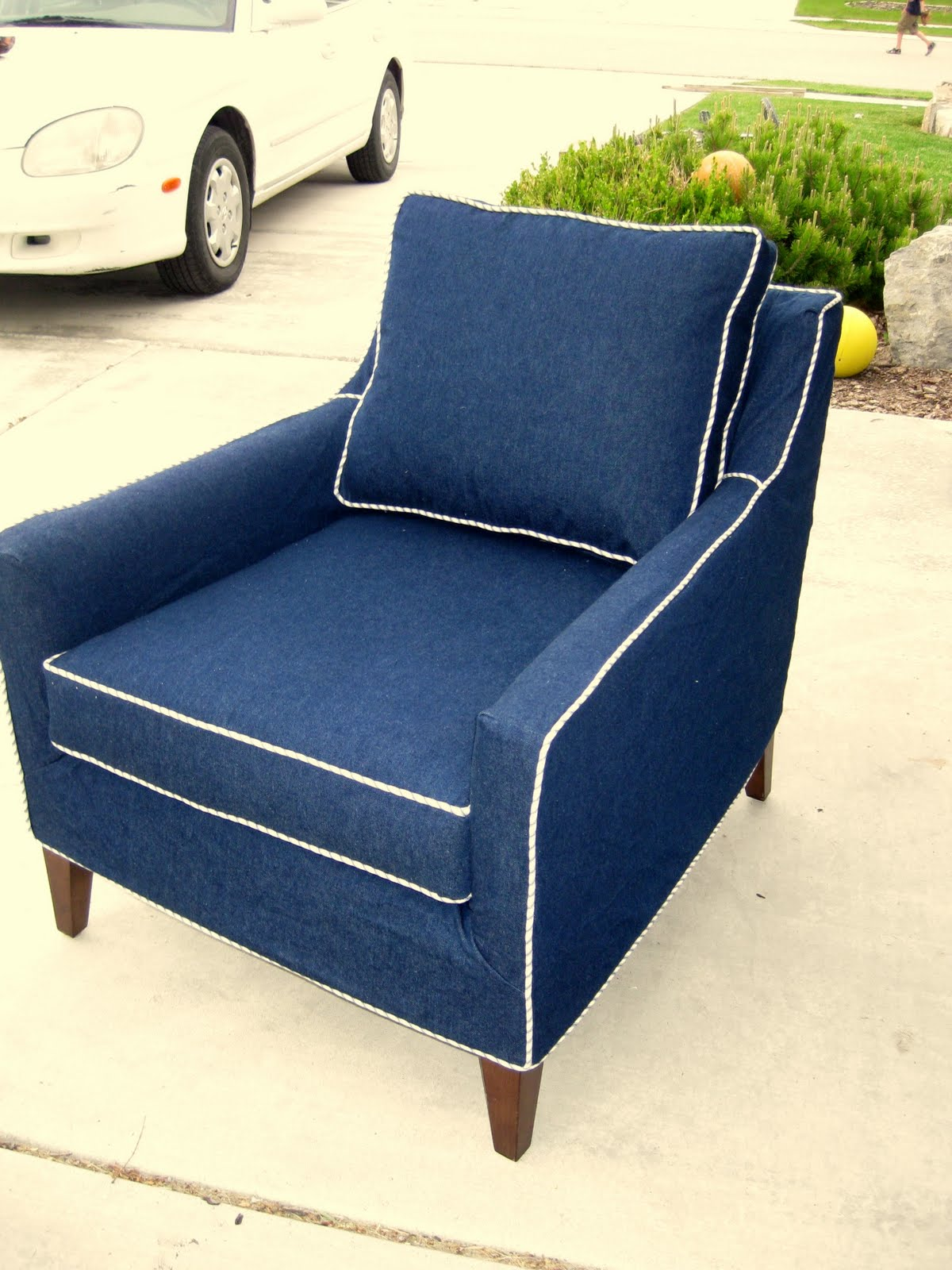 Denim Chair Custom Slipcovers By Shelley Denim Chair With Ticking