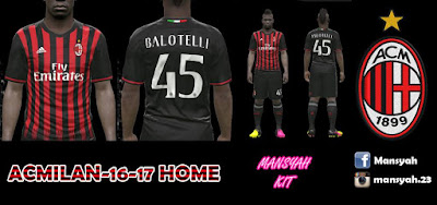 PES 2016 AC Milan 16-17 Home Kits by Mansyah