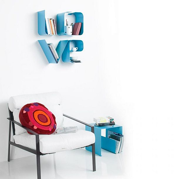 Innovative Bookshelf in the form of word LOVE | Modern Furniture designs | Wall mounted Book shelf