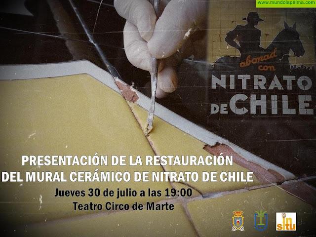 El Ayuntamiento de Santa Cruz de La Palma traslada a la ciudadanía en un acto público la restauración del mural cerámico de Nitrato de Chile