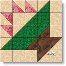 Christmas Basket quilt block image © W. Russell, patchworksquare.com