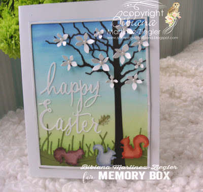watercolor easter scene with memory box dies front
