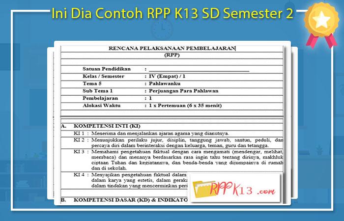 Contoh RPP K13 SD Semester 2