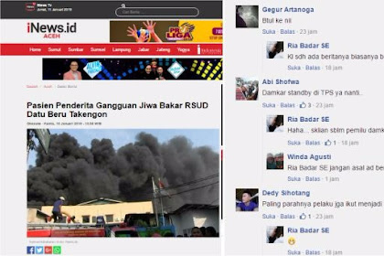 Pasien Penderita Gangguan Jiwa Bakar RSUD, Warganet: Damkar standby di TPS ya