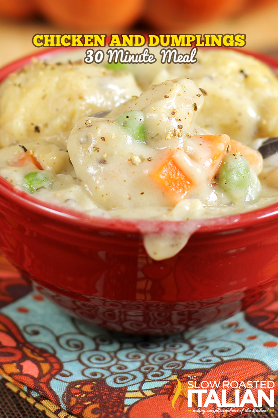 http://www.theslowroasteditalian.com/2012/11/chicken-and-dumplings-in-30-minutes-2.html