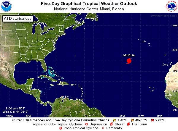 El huracán Ophelia (Ofelia) ya se ha formado en el Atlántico no afectará a Canarias