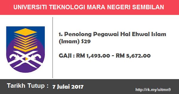 Jawatan Kosong di Universiti Teknologi Mara (UiTM) Negeri Sembilan