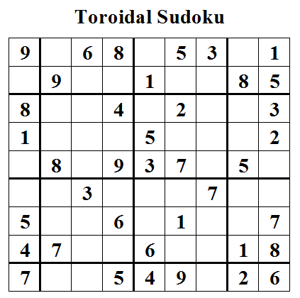 Toroidal Sudoku (Daily Sudoku League #14)
