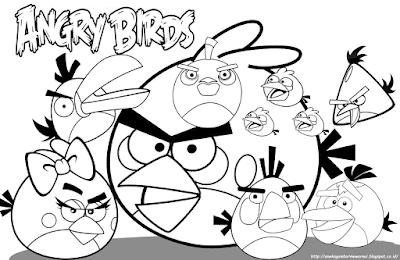 10 Gambar Mewarnai Angry Birds Untuk Anak PAUD dan TK