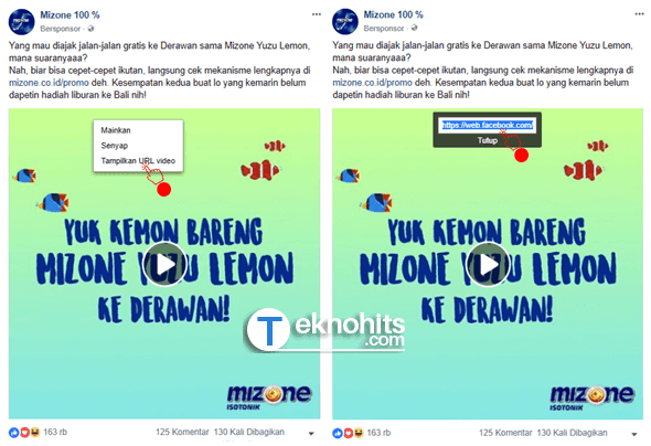 Tampilkan URL video dan Copy URL video.