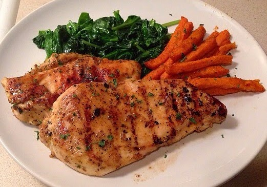 Fit Fluential Mom Roasted Chicken Breast With Sweet Potato Fries And Spinach