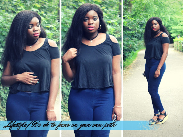 BLACK NEW LOOK TOP AND DARK BLUE JEGGINGS FROM H &M