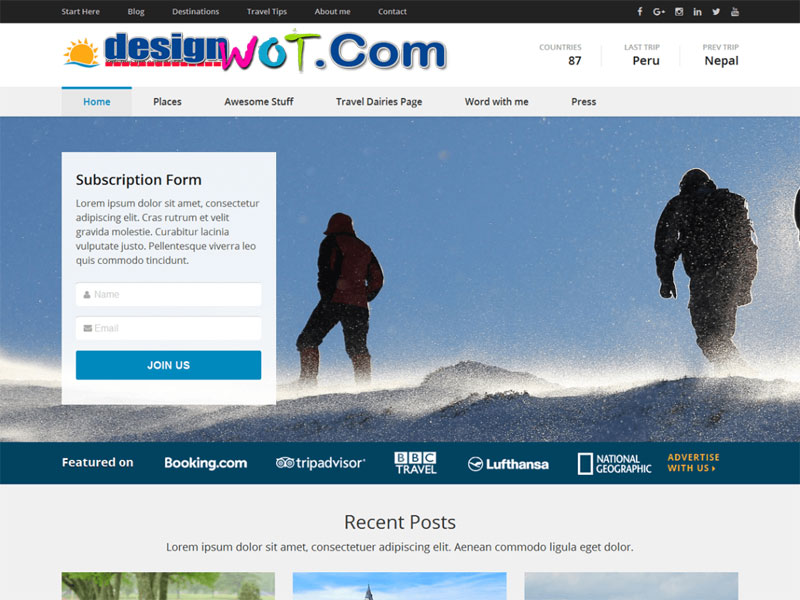 Travel Diaries Easy to use WordPress Theme