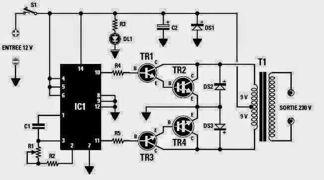 converter 12 vdc to 230 vac  inverter circuit diagram