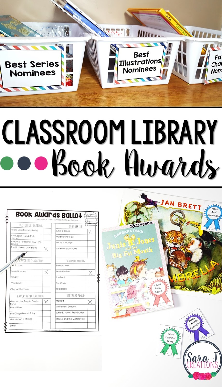 Great idea for using your classroom library to create book awards for some of your favorite books.